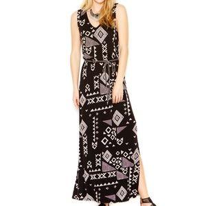 Lucky Brand S sleeveless black tribal maxi dress